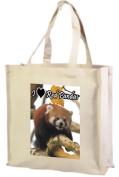 I Love Red Pandas, Red Panda, Cotton shopping bag Cream