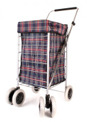ST-SIX-01 Navy Red Tartan 6 Wheeled Large Shopping Trolley with Adjustable Handle