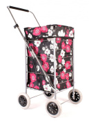 ST-FOUR-01 Black Pink Flower Pattern 4 Wheel Caged Shopping Trolley - Adjustable Handle