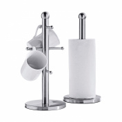 Steel Mug Tree and Kitchen Towel Holder Set, Stainless