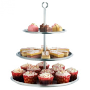 VonShef 3 Tier Stainless Steel Cake Stand To Display Cakes / Cupcakes / Biscuits / Muffins - Party Wedding