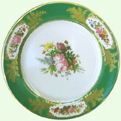 Devonshire Chatsworth Serves green Painted Tin Enamel Plate - Picnic or Camping