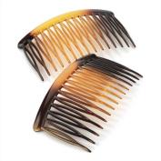 Two piece tortoise shell colour 8cm hair side comb set