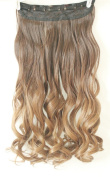 50cm 60cm 3/4 Full Head Clip in Hair Extensions Ombre One Piece 2 Tones Wavy Curly Black Brown Blonde
