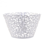 Cosmos® 24 Pcs White Flower Vine Filigree Cutout Lace Cupcake Wrapper Wraps Liner Wedding Party Cake Decoration
