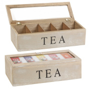 Relaxdays Wooden Teabag Case Box Teabox With 5 Compartments And Viewing Panel 38 X 9 X 9 Cm