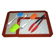 Non Stick 2 Silicone Baking Mats with 4 Silicone Kitchen Tools