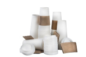 Paper Hot Cups with Lids and Cup Sleeves, White, 590ml