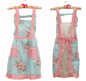 . Flower Pattern Women's Fashion Floral Cotton Chef Cooking Cook Apron Bib with Pockets 13# Hyzrz