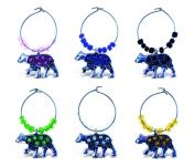 Puzzled Metal Black Bear Wine Charms