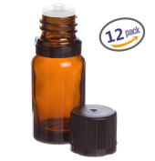 Lisse Essentials 15 ml Amber Glass Essential Oil Bottle with Orifice Reducer and Cap