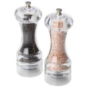 Olde Thompson Himalayan Pink Salt Mill and Mercury Pepper Grinder Set