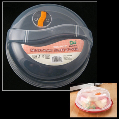 Plastic Microwave Plate Lid Cover With Steam Vent Clear 26cm Food Splatter New