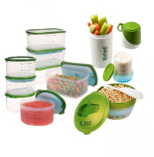 Fit and Fresh Perfect Portion Kit with Breakfast Chiller and Snacker, Green
