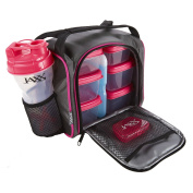 Fit & Fresh Jaxx FitPak Meal Prep Bag and Container Set with 6 Leakproof Portion Control Containers, Ice Pack and 830ml Jaxx Shaker Cup, Pink