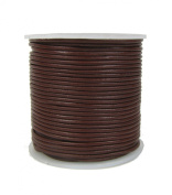 Round Leather Cord, 1mm Brown, 25 Metre Spool (~28 Yards) for Beading, Jewellery, Crafts