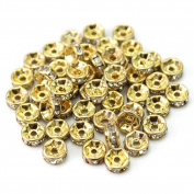 50X 6mm Bling Crystal Rhinestones Spacers Beads Golden Tone For Jewellery Making