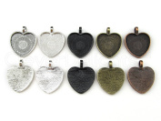 """20 CleverDelights 1"""" Heart Pendant Trays - Mix Pack - 25 mm - Antique Silver, Shiny Silver, Dark Black, Antique Copper, Antique Bronze - Pendant Blanks Cameo Bezel Cabochon Settings - 1 inch 25mm"""