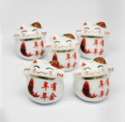 Jacky Sharp Ceramic Beads with Lucky Cat Pattern for Making Pendant Etc.(10pcs)