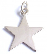 Sterling Silver Large Star Charm/Blank 30.2 mm (1.2 in) x 26.4 mm