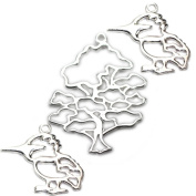 Amoracast Exclusive Sterling Silver Wise Oak Tree Pendant Sampler Set - Kingfisher