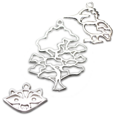Amoracast Exclusive Sterling Silver Wise Oak Tree Pendant Sampler Set - Kingfisher and Raccoon