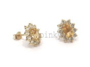 NEW 9ct Gold Oval Citrine and CZ Stud Earrings BNIB (GS1130) GOLD EARRING / Gold Jewellry