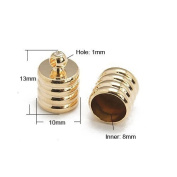 Pack of 10 x Rose Gold Plated Brass 10 x 13mm Kumihimo Ribbed End Caps - (HA07590) - Charming Beads