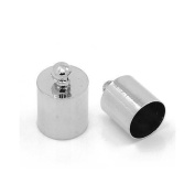 Pack of 20 x Platinum Plated Brass 8 x 12mm Kumihimo Barrel End Caps - (HA07570) - Charming Beads