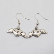 Charm Friend Heart Wings Earrings Girl Symbol Earrings Jewellery Best Gift for Woman Everyday Gift