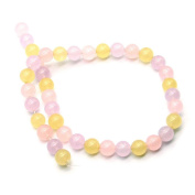 10mm Diameter 38cm Long Necklace, Jade Bracelet with Pink Purple and Yellow Beads