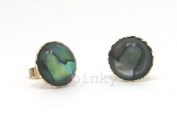 New 9Ct Gold / 9k Gold Button Abalone 8 mm. with Diamond Cut Edge Stud Earrings (GS369) GOLD EARRING / Gold Jewellry