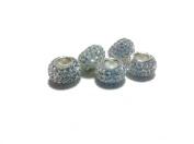 Silver-.925 Sterling Silver. Crystal Pave Bead Charm Fits Pandora Bracelets