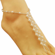 Binmer(TM)Fashion Bridal Pearl Sandal Anklet Wedding Jewellery Women Girl Foot Bracelet Ankle Chain Toe Ring Beach Wedding Anklet Chain