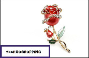Rhinestone Lucid Crystal with 18k Gold Plated Rose Pin Brooch - One Item