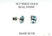 New 9ct White Gold Blue Topaz STUD Earrings (GW142) WHITE GOLD EARRING / White Gold Jewellry