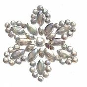 Cb055 - 9 Diamante Ab Clear Self Adhesive Stick on Flower Gems Wedding Craft