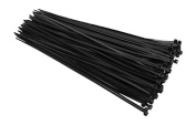 28cm Black Cable Ties, Dupont 66 Material, 21kg. Working Load, 100 Pack