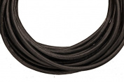 Full-grain leather cord, 3mm round black 5 yard