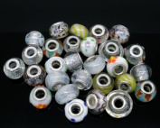Ten Pack of Assorted Colours Glass Lampwork Murano Glass Beads For Snake Chain Bracelets