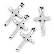 Rockin Beads Brand, 50 Pendant Beads Charms 2.5cm Cross Antique Silver Plated Zinc 2.5cm x 1.3cm Package of 50