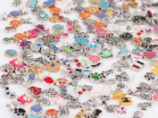 Miraclekoo Floating Charms Assorted Mix DIY for Floating Charm Lockets Glass Living Memory Lockets ,100 Pcs(Different), Silver