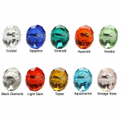 BRCbeads Crystal Glass Beads Finding Spacer Charms 300pcs Faceted #5040 Briollete Rondelle Shape 6x8mm Assorted Colours include Plastic Jewellery Container Box Wholesale Mix lot for jewelery making