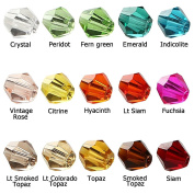 BRCbeads Crystal Glass Beads Finding Spacer Charms 1500pcs Faceted Bicone Shape 4mm Assorted Colours include Plastic Jewellery Container Box Wholesale Mix lot for jewelery making