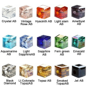 BRCbeads Crystal Glass Beads Finding Spacer Charms 1500pcs Faceted #5601 Cube Shape 4mm Assorted Colours include Plastic Jewellery Container Box Wholesale Mix lot for jewelery making