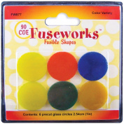 Fuseworks Variety Colour Fusible Glass Shapes, 2.5cm Round Discs, Assorted Colours, 6-Pack