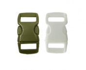 Mix of 10 Olive Drab & White 1cm Buckles (5 Olive Drab/5 White) , Contoured Side-Release. Perfect for Paracord Bracelets.