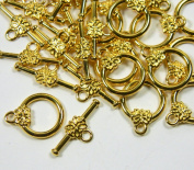 19 Gold Plated Brass Jewellery Toggle Clasps 14mm Flower Design Jewellery Findings