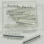 10 Pack Multi 5 Strand Slide Lock Clasps, Silver Plated Brass
