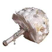 Engerla Handmade Crystal Diamond Pearl Rhinestone Brooch Bridal Hold Flowers Wedding Bouquet Brooch